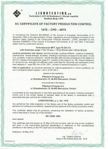 Certifikát CE EN