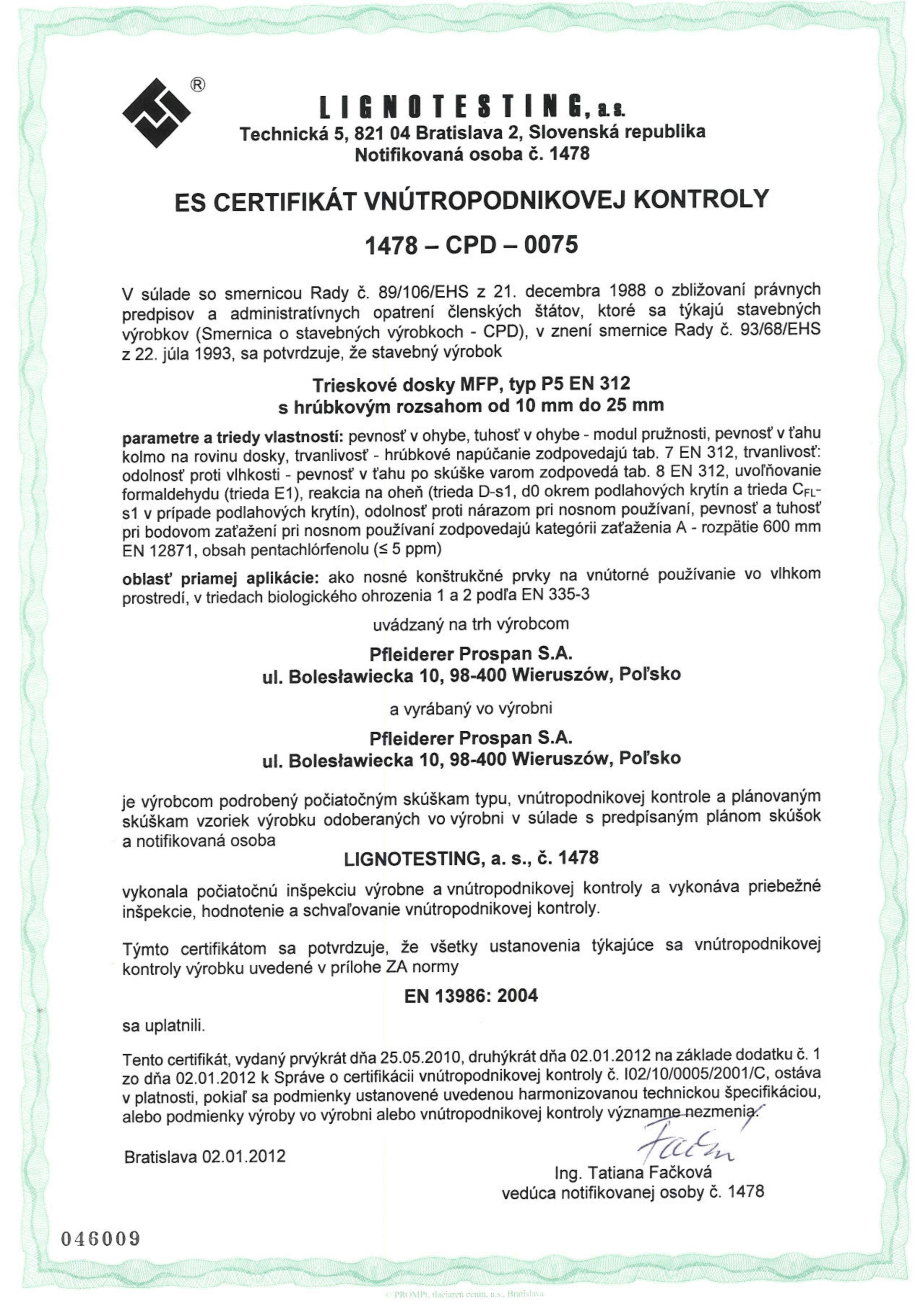 Certifikat CE SK doska drevotrieskova stavebna